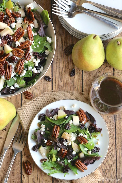 goat cheese, pear, and pecan salad with maple balsamic dressing. perfect thanksgiving dinner salad