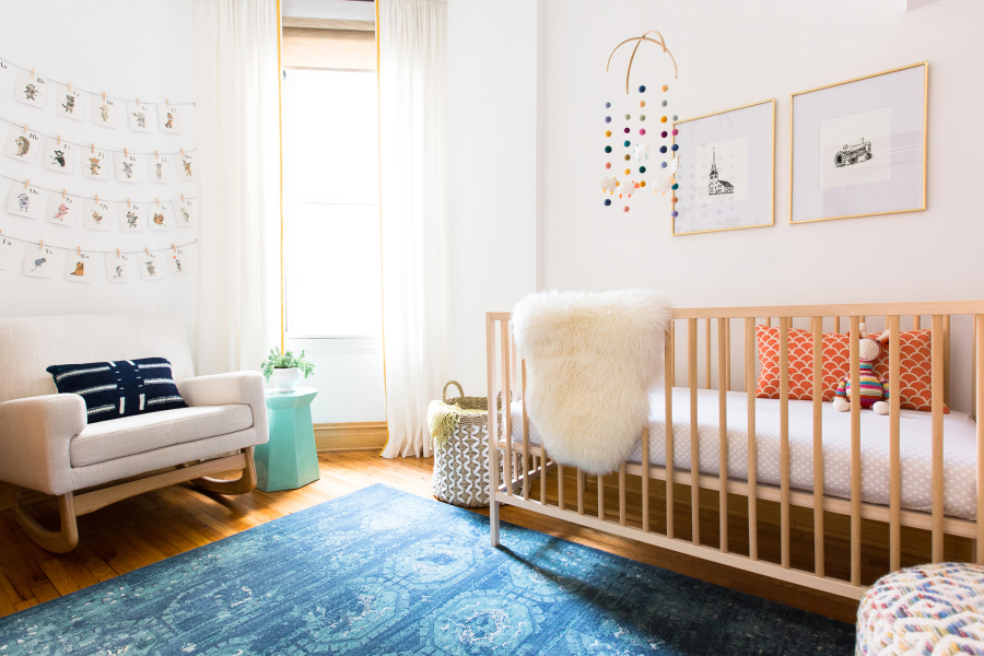 A warm mid-century modern nursery via StyleMePretty