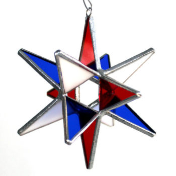 red white and blue marovian glass star | glass decor | 4th of july decor | memorial day decoration