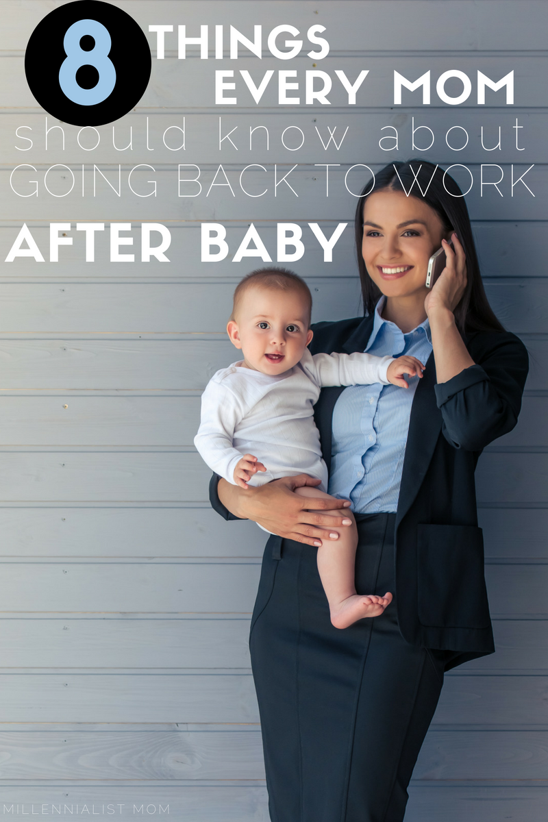 8 things every mom should know about going back to work after baby. The end of maternity leave starts a new working mom schedule and challenges productivity, meals, and every thing you've ever known. Read these happy thoughts that every #workingmom needs to hear before going back. #newmomtips #newmom #maternityleave #millennialmom