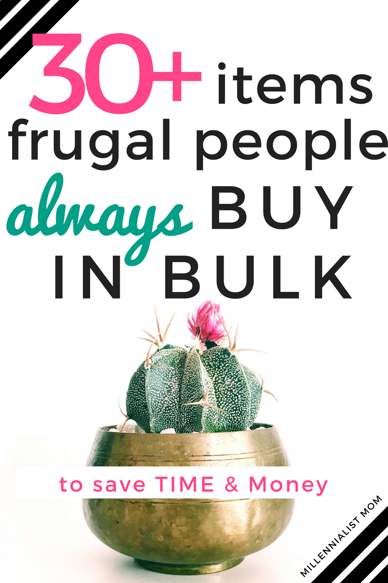 30+ items frugal people always buy in bulk to save time & money. Save money at home with this shopping list to cut back on how much you spend and how often. Save time & money on everyday home essentials and thank me later!