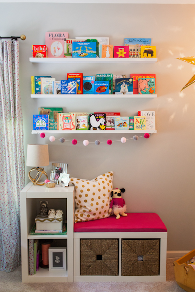 Ikea Kallax Bench hack for nursery book nook and storage furniture