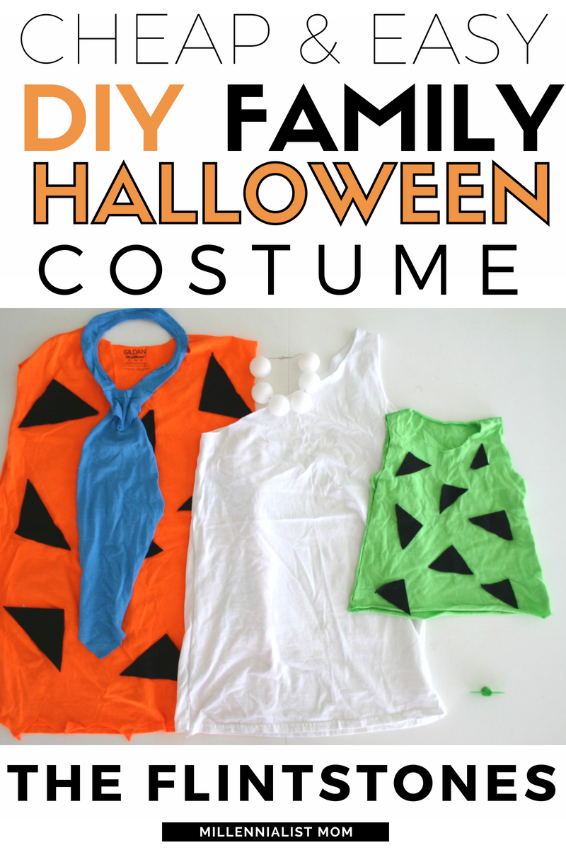 cheap and easy diy family halloween costume - the flinstones or flintstones haha!