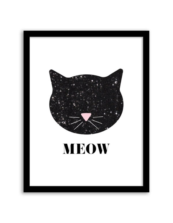 free-printable-wall-art-sequin-cat- for a modern nursery. cheap wall decor for nursery or anywhere. Either way, I love it and I need this for my daughter!