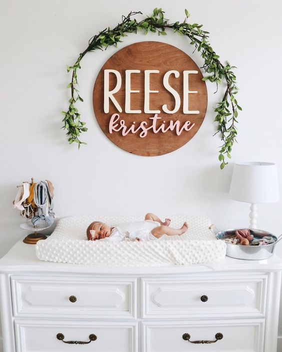 affordable modern nursery essentials for boy or girl. 5 items no baby room should be without. The cutest name plate! Little tiny babe. Perfect changing table solution, and prime font combo