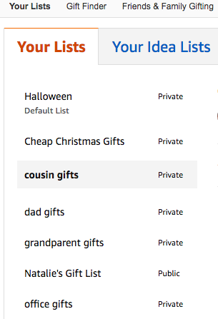use lists on amazon to track gift ideas and save money